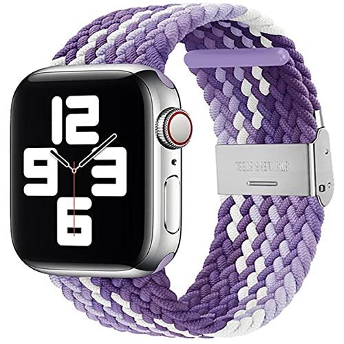 VeveXiao Correa de nailon compatible con Apple Watch SE, 42 mm, 44 mm, para hombre y mujer, ajustable, trenzada, correa deportiva elástica para iWatch Serie 6/5/4/3/2/1 (púrpura, 42/44 mm)