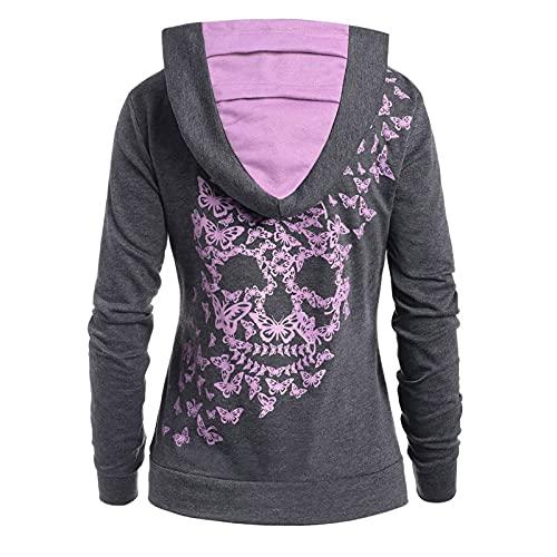 VICIKON Halloween Kostüm Damen, Halloween Damen Langarmshirt,Vintage Sweater,Einfarbig Lange T-Shirt,Wärmhoodie Damenmode Schmetterling Totenkopf Print Hoodie Sweatshirt Tops Sweatshirt