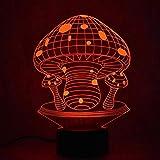 Lámpara de mesa 3D creativa Luz de noche USB Novedad Decoración de setas Regalo ligero