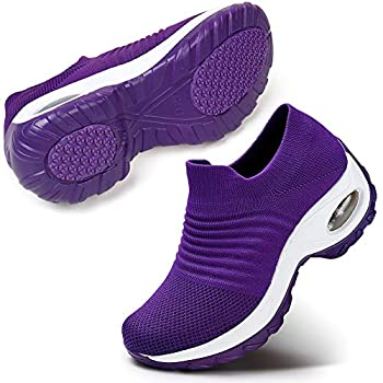 Women s Walking Shoes Mesh Slip On Athletic Shoes Fashion Sneakers Running Loafers 6.5 Purple