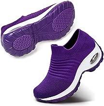 Women Comfortable Walking Shoes Fashion Slip On Sneakers Platform Wedge Loafers Shoes 9 Purple