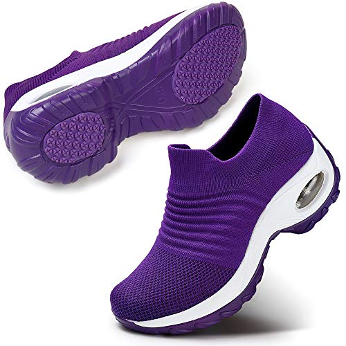 Women's Walking Shoes Mesh Slip On Athletic Shoes Fashion Sneakers Running Loafers, 6.5 Purple
