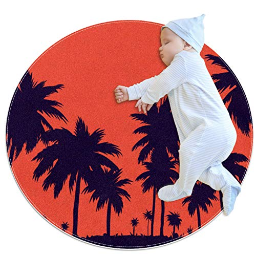AIBILI Alfombra redonda de algodón, lavable, elegante, para salón, dormitorio, playa, coco, color rojo