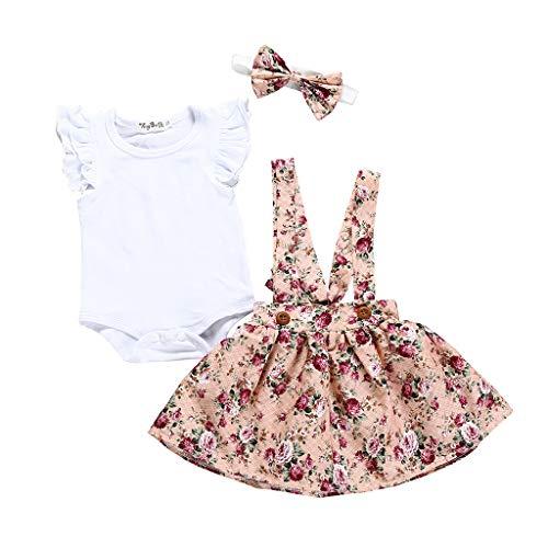 Kinder Mädchen Strampler Bodysuit + Blume Rock + Stirnband