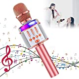 2020 Wireless Karaoke Microphone,Verkstar Portable Bluetooth Handheld Mic Speaker Machine Best Birthday Gift Toy for Kids with LED Lights Magic Sing and Recording