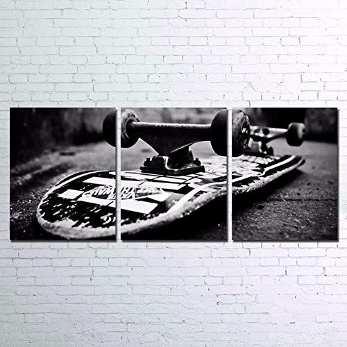 ZXCVWY 3 Platten Leinwandbilder Wandbilder Retro Skateboardbilder Hd Prints Boardtastic Skateboarding Poster Wohnkultur