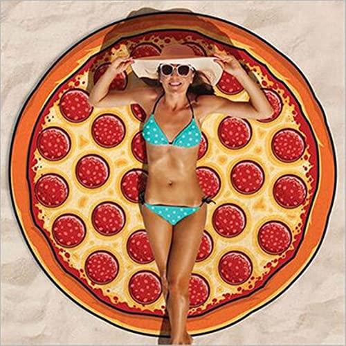 UKKD Toalla de Playa Foodie Beach Toalla Donuts Redondo Picnic Mat Mar Portátil Portátil Ligero Ligero Rápido Secado Al Aire Libre Detalle Plegable-Pizza