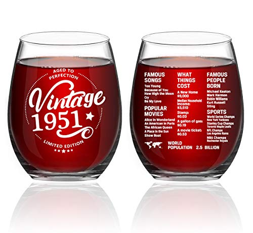 Greatingreat 1951 Old Time Information 70th Birthday Gifts for Women Men - 1951 Vintage 15 oz Stemless Wine Glass - 70 Year Old Birthday Party Decorations - Seventy Class Reunion Ideas
