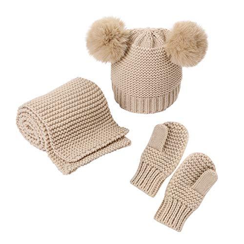 Gojiny Baby Mütze Schal Handschuhe Set Kleinkind Winter Gestrickte Pompon Mütze Halswärmer Fäustlinge für 0-3Y Jungen Mädchen Gr. M, khaki