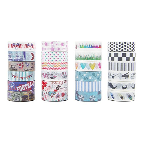 Washi Tape 24 Rolls - Washi Masking Tape Set Decorative Craft Tape for Arts and Crafts Decoration Tape Adhesive School Supplies