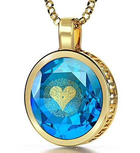 Gold Plated Silver I Love You Necklace for Women 24k Gold Inscribed in 120 Languages on Round Cut Blue Cubic Zirconia Gemstone Anniversary Halo Pendant,...