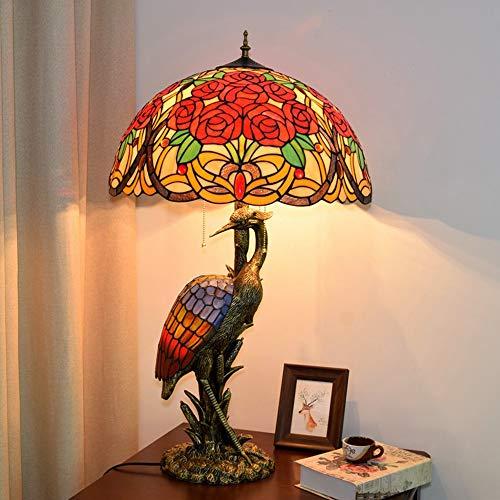 Gal Lámpara de mesa con diseño retro europeo de cristal coloreado para sala de estar, restaurante, hotel, rosa, decoración de la lámpara de la grúa de hadas 50 x 85 cm