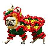 Dog Costume Lion Dance Dog Costume, Chinese New Year Style Costume Lion Dance Dragon Dancec Clothing, Cute Lion Head Dance Cloth for Pet Dog Chritmas Halloween Costume