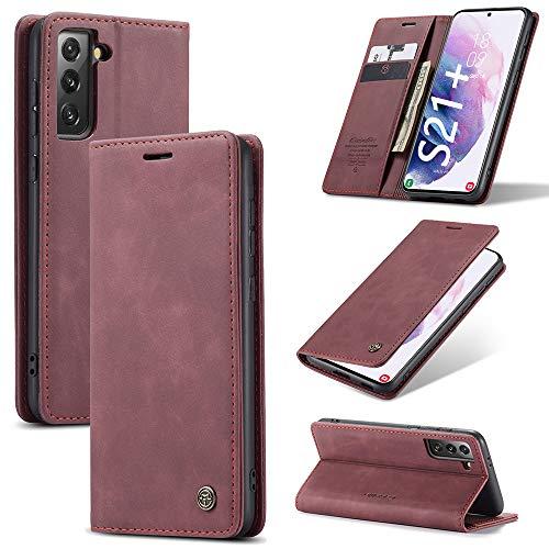 KONEE Funda Compatible con Samsung Galaxy S21 Plus, [Ranuras para Tarjetas] [Soporte Plegable] Magnético Carcasa Premium PU Cuero Flip Folio Carcasa para Samsung Galaxy S21+ 5G - Vino Tinto