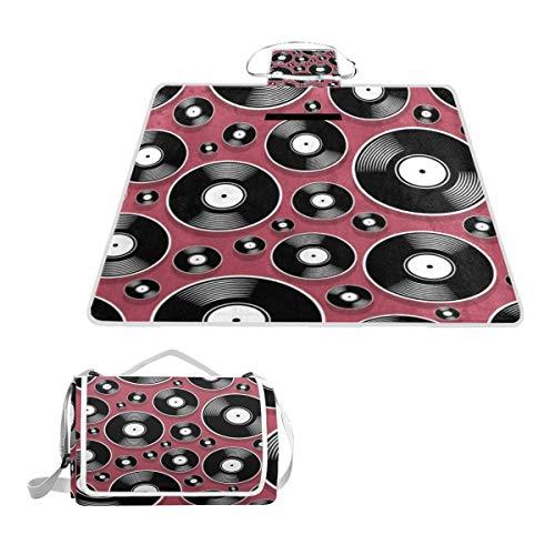 XINGAKA Couverture de Pique Nique,Audio Retro Object Pop Music Vintage DJ Plate Vinyl Record Album Digital Disc Disco Graphic Media,Tapis Idéale pour Plage Jardin Parc Camping