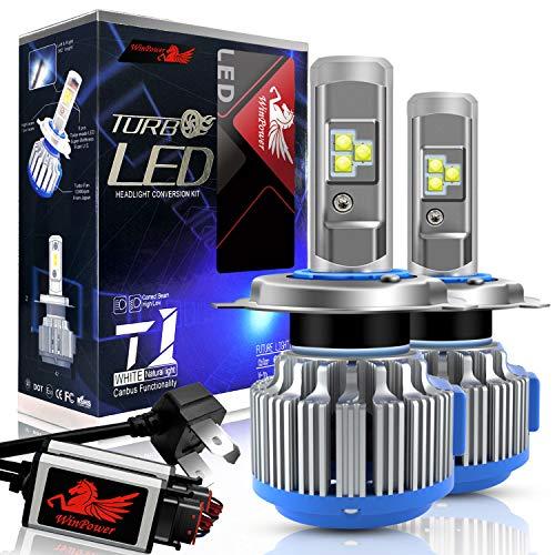 WinPower - H4 (P43t) - Kits de conversion d'ampoules de phares à LED CREE avec Canbus - Hi/Lo 80W 7200Lm blanc xénon 6000K - 2 Pièces