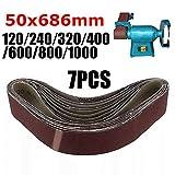 7 Unids/set Bandas de lijado abrasivo Banda 120/240/320/400/600/800/1000 Arenas Herramientas de lijado de pulido de madera Óxido de aluminio 50x686 mm, como se muestra