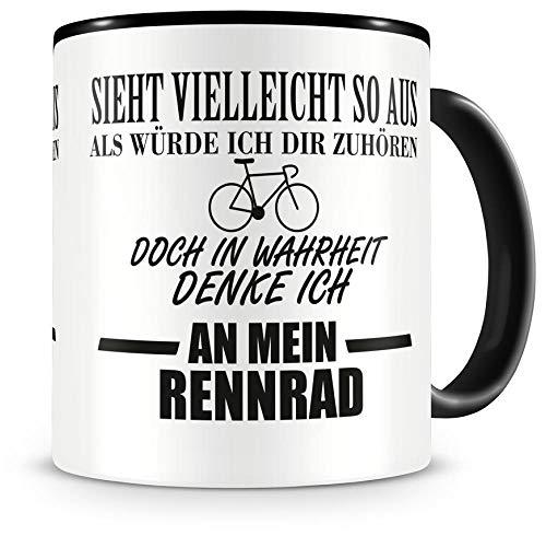 Samunshi® Ich denke an mein Rennrad Tasse Kaffeetasse Teetasse Kaffeepott Kaffeebecher Becher Nr.1: schwarz H:95mm / D:82mm