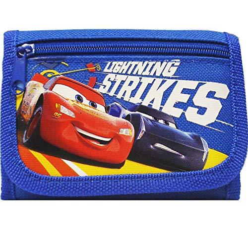 Disney Car Strikes Authentic Licensed Children Trifold Wallet (Blue)