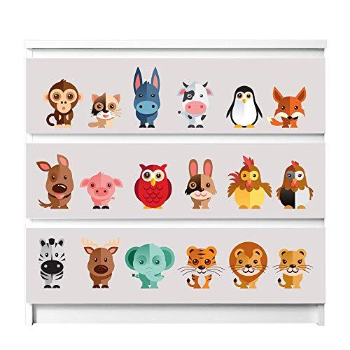 banjado Möbelaufkleber für Kinder-Zimmer | Selbstklebende Möbelfolie passend für IKEA Malm Kommode | Wandtattoo Deko mit Design Freunde für 3 Schubladen