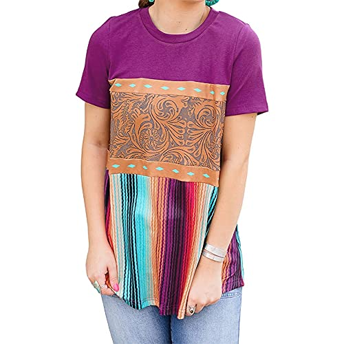 Camisa Mujer Blusa Mujer Largo Retro Casual Moda Estilo étnico Cuello Redondo Manga Corta Verano Suelto Cómodo Elegante Mujer Top Mujer Camiseta A-Purple XL