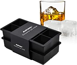 Ankway Silicone Ice Cube Tray, 2 Inch Giant Square Ice Cube Mould 8 Cavity Food Grade Silica Gel Ice Mold for Whiskey Cocktails Wine Milk Juice Chocolate Mold, Pack of 2 (Black)