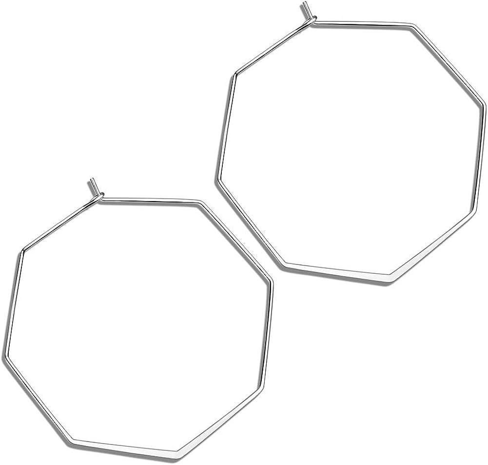 SHOWNII Lightweight Geometric Octagon Hoop Earrings Thin Hoops for Women