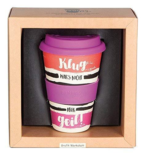 Grafik Werkstatt Deckel | Kaffee-Becher | Coffee 400 ml | -to-go | Klug Wars nicht, beige, 9 x 9.5 x 14 cm