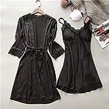 SDCVRE Pijama camisón de Invierno,Nueva Ropa Interior de Mujer para Mujer, Vestido de Bata de Encaje de Seda Satinada, camisón Babydoll, Ropa de Dormir, camisón de Kimono, Bata, Negro, XL