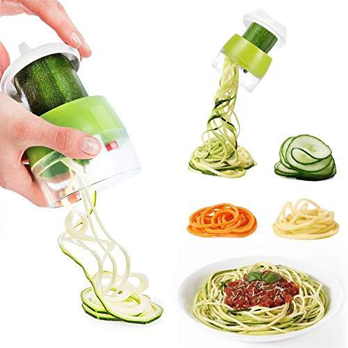 YOOXI Tragbarer Spiralisierer für Gemüse, manuelle Käsereibe, einfache Zubereitung von Gemüsesalat/Zucchininudeln/Low Carb/kein antikes Mehl/glutenfreie Gerichte, am besten für Veganer