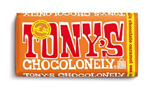 Tony's Chocolonely 32% Milk Chocolate Bar with Caramel and Sea Salt, 6.35 Ounce