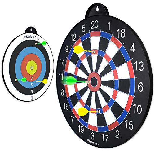 GIGGLE N GO Reversible Magnetic Dart Board for Kids Fun Kids Game on Each Side