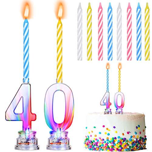 2 Piezas Velas de Cumpleaños LED Vela LED Brillante Número 0 y Número 4 Velas de Cumpleaños LED de Cambiar de Color y 8 Piezas Velas de Cera de Colores para Fiesta de Cumpleaños Topper Pastel