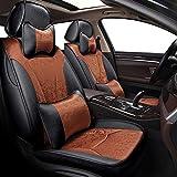 ESUHUANG Car Seat Covers Set Completo de Cuero de la PU con Lino sedán Asiento Protector Accesorios del Amortiguador for Peugeot 206 407 508 308SW 301 3008 2017 205 307 207 406 (Color : Color 9)