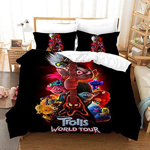 GDGM Trolls World Tour Juego de ropa de cama para niños, funda nórdica y funda de almohada, algodón reforzado, ropa de cama 3D, ropa de cama para niña (A,135 x 200 cm 2 piezas)