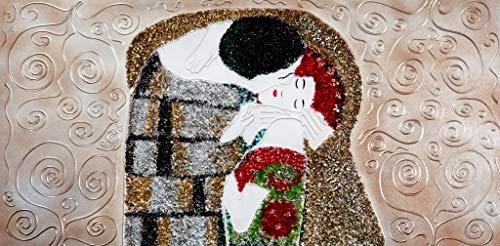 Cuadro Pintado El Beso, con Piedras Brillantes 140x70 cm