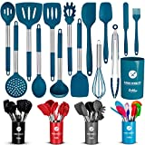 ORBLUE Silicone Cooking Utensil Set, 14-Piece Kitchen Utensils with Holder, Safe Food-Grade Silicone Heads and Stainless Steel Handles with Heat-Proof Silicone Handle Covers, Blue