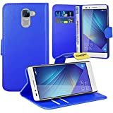 Huawei Honor 7 Handy Tasche, FoneExpert® Wallet Hülle Flip Cover Hüllen Etui Ledertasche Lederhülle Premium Schutzhülle für Huawei Honor 7 (Blau)