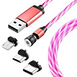 Ruibo Sike 540 - Cable de carga magnético con flores LED multicolor 3 en 1 Micro USB tipo C (1 m =...