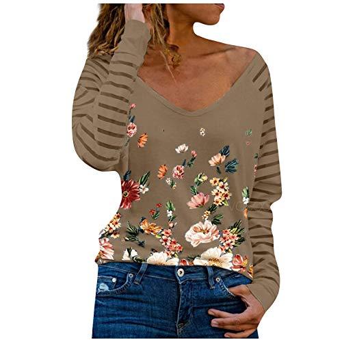 Masrin Mask Damen Tops Spring V-Ausschnitt Streifen Blumen Bedruckt Pullover Langarm Patchwork Shirts Bluse(XL,#A Braun)