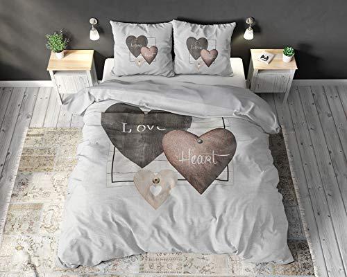 SLEEP TIME Bettwäsche 100% Baumwolle Liebesherzen, 200 x 200cm, 80 x 80cm, Grau