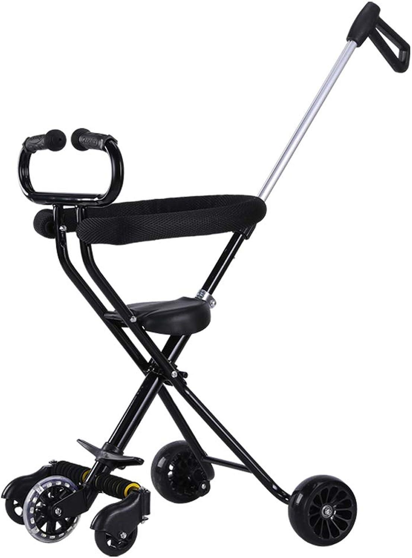 Kinderfahrrder Guo Shop- Leichter Faltbarer Kinder Dreirad-Kinderwagen 5-Offroad-Rad-Laufkatze