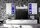 HBZ Wohnwand Milo 2 Weiß Weiß Glanz 4-teilig inkl. LED-Beleuchtung Wohnzimmer