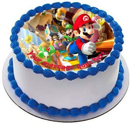 Stampa rotonda commestibile per torta con Super Mario e auguri personalizzati, 19cm