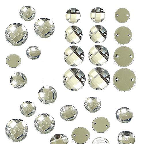 Perlin Piedras brillantes para coser para coser, juego redondo de piedras de cristal acrílico con parte trasera plana para ropa, manualidades, ropa y decoración (10 mm, 100 unidades)