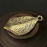 Me Plus Drawihi Copper Tree Leaf Charms Gold Brass Lucky Leaves Keychains Pendant for Necklace DIY Keyring Handmade Keyrings Accessories