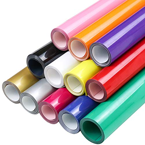 12 Roll Heat Transfer Vinyl 12 Inch by 5 Feet for T-Shirts, Iron on HTV Compatible with Cricut, Cameo, Heat Press Machines, Sublimation