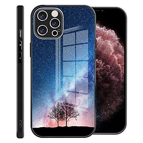 Gokruati Compatible con la Carcasa del iPhone 12 Pro Precision Fit TPU y la contraportada de Vidrio Duro para el iPhone 12 para el iPhone 12 Mini (patrón de la vía láctea)