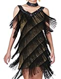 kayamiya Women's Art Deco 1920s Gatsby Sequins Tassel V Neck Flapper Costume Dress 8-10 Gold Black