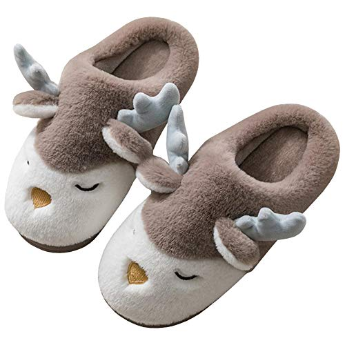 Watwass Kuschel Pantoffeln Jungen Braun Plüsch Flauschige Hausschuhe Pantoffeln Herren 40-44 Weihnachten Rentier
